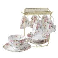 花漾薔薇骨瓷6入咖啡杯盤組附架