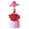 Vigar粉色洋娃娃捧花造型水果叉20入