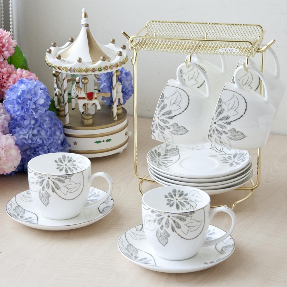 亞理斯骨瓷6入咖啡杯盤組