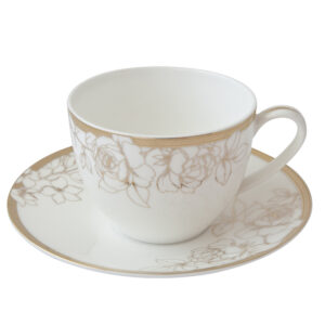 燦金玫瑰骨瓷咖啡杯盤組