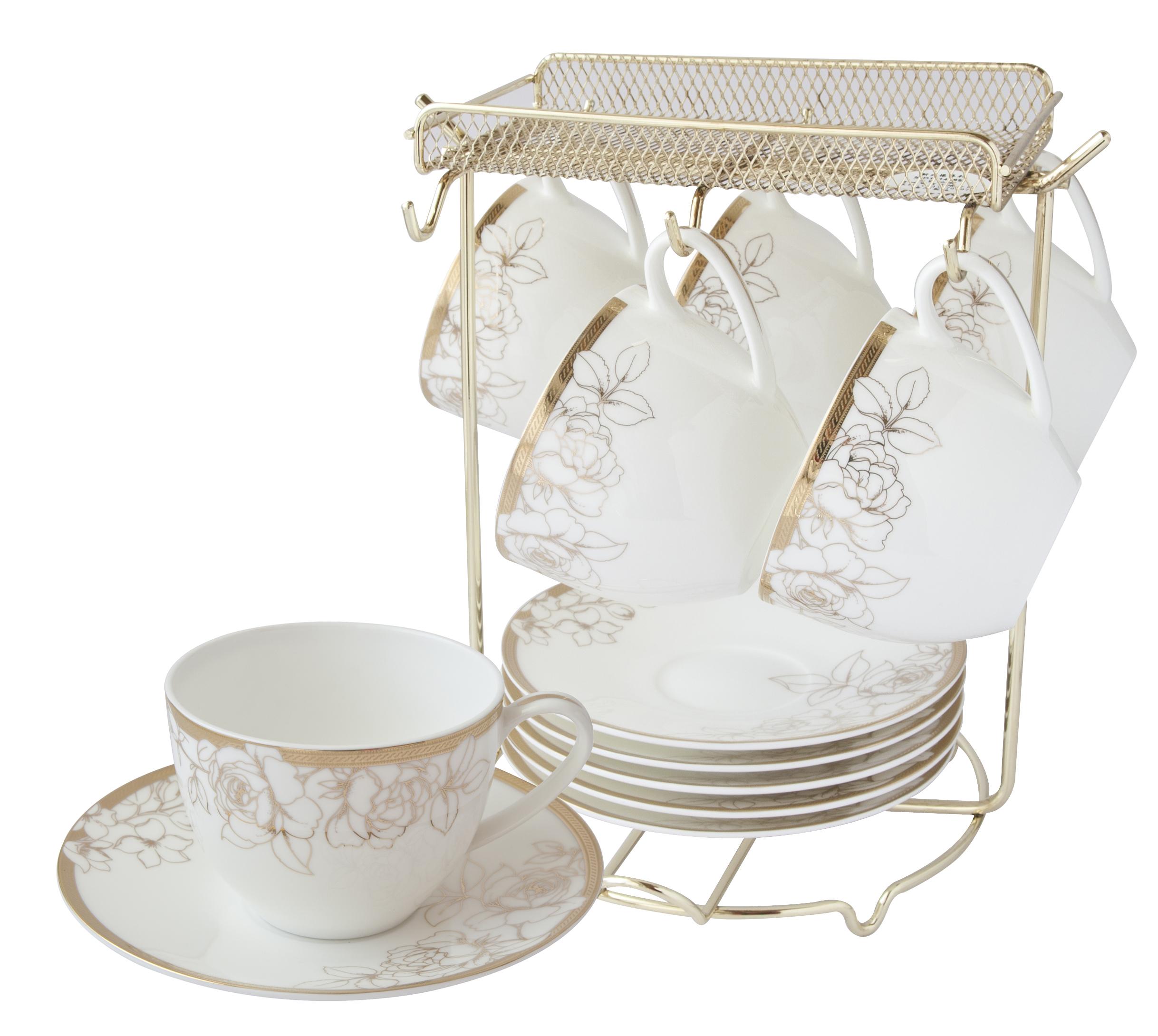 燦金玫瑰骨瓷6入咖啡杯盤組
