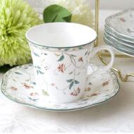 歐若拉骨瓷6入咖啡杯盤組