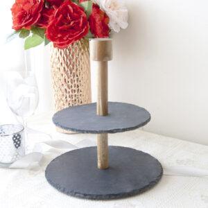 漢克圓形雙層石板蛋糕盤