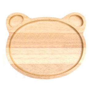 小熊造型橡膠木餐盤