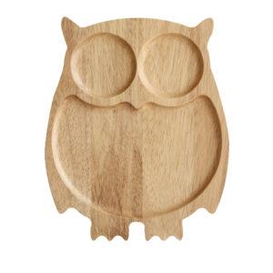 貓頭鷹造型橡膠木餐盤