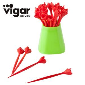 Vigar玫瑰水果叉20入