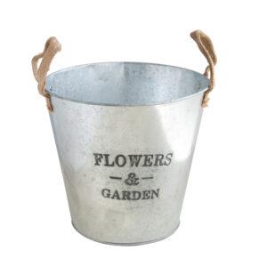 Garden鐵製雙耳鍍鋅花器7吋
