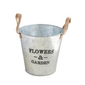 Garden鐵製雙耳鍍鋅花器6吋