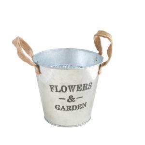 Garden鐵製雙耳鍍鋅花器5吋