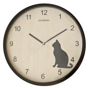守時貓咪靜音圓形壁鐘32cm