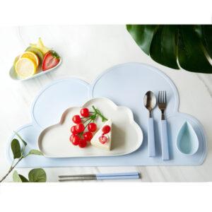 雲朵造型矽膠餐墊 藍